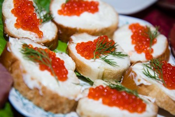 sandwich with red caviar