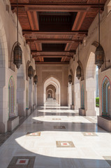 Alley way to ablution area in Sultan Qaboos Mosque, Muscat, Oman