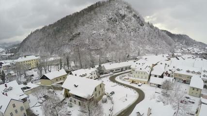 Camera flying over Kamnik, town in Slovenia.