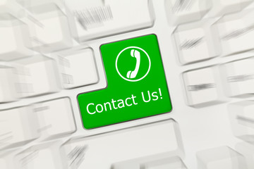 White conceptual keyboard - Contact Us (green key with handset).