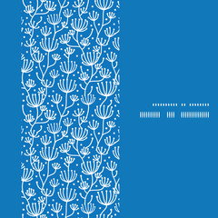 Vector blue white lineart plants vertical frame seamless pattern