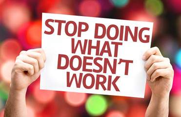 Stop Doing What Doesn't Work card with colorful background