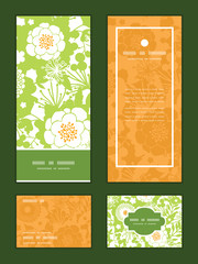 Vector green and golden garden silhouettes vertical frame