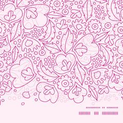 Vector pink flowers lineart horizontal frame seamless pattern
