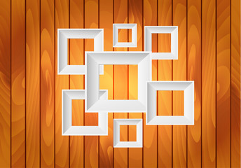 Vector white frames on wood background