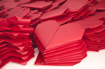 Lots of red paper hearts for Valentine's Day