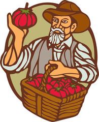 Organic Farmer Tomato Basket Woodcut Linocut