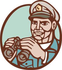 Navy Admiral Binoculars Circle Linocut