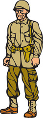 World War Two Soldier Standing Linocut
