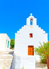 white church in Chora the capital of Amorgos island in Greece