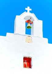 belltower in Chora the capital of Amorgos island in Greece