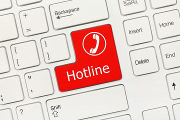 White conceptual keyboard - Hotline (red key)