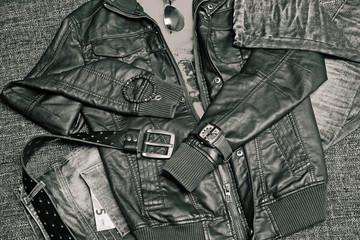 leather jacket, jeans, belt and watch, bracelet