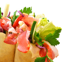 Tasty  shawarma with fresh vegetables and meat, lavash, pita, ap