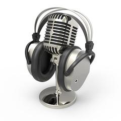 Mikrofon mit Kopfhörer weiss