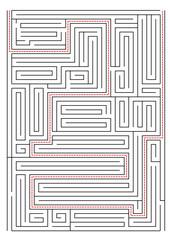 kırmızı çizgili labirent yolu