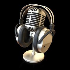 Mikrofon mit Kopfhörer matt schwarz