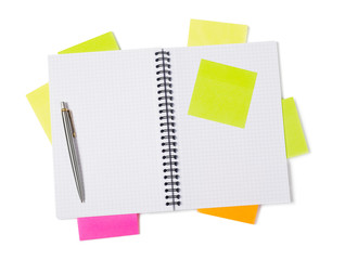 Notebook, adhesive notes and pen