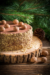 Chocolate cake on wood