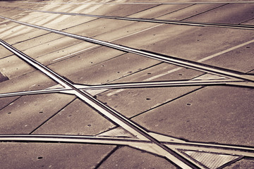 Detail of a tramway (Wien - Austria) - toned image