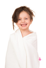 fashionista girl dressed in white sheet