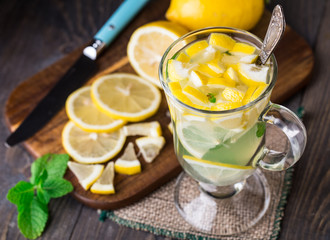 Glass with mint and lemon tea