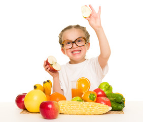 little girl with apple, fruits and vegetables