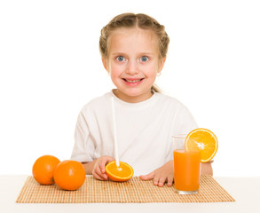 little girl with orange juice