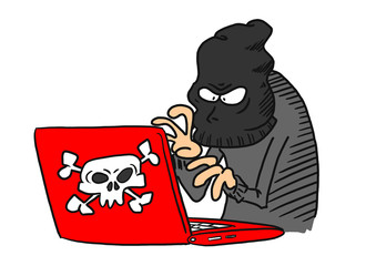 Cyber Criminal on computer