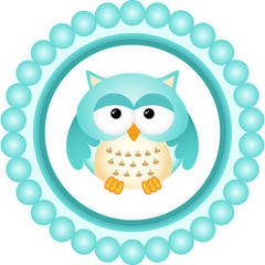 Blue Owl Round Label