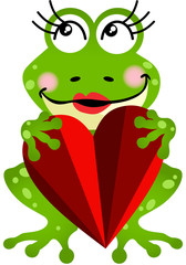 Frog Girl Holding a Heart