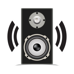 Playing speaker with shadow on white background