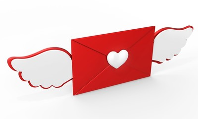 3d valentines day love letter with red heart