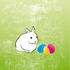 Frohe Ostern - Osterhase mit bunten Eiern