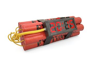 Explosives with alarm clock 2015 detonator isolated on white bac