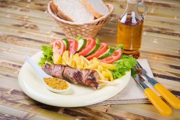 shashlik on a plate