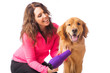 woman grooming golden retriever