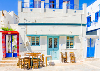 old restaurant in Langada vilage in Amorgos island in Greece