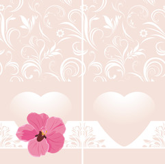 Ornamental pink banner with heart and flower