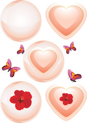 Glowing spheres and hearts. Decorative elements