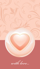 Ornamental pink banner with heart