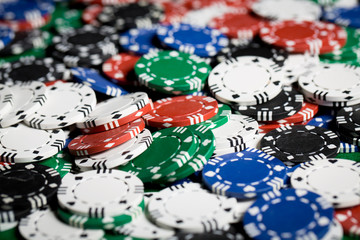 close up of casino chips background