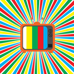 Old retro TV on a colored background