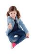 Adorable little girl indicating something