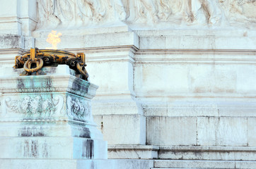 Altar of the Fatherland in Rome the brazier of the sacred fire