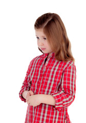 Sad little girl with red plaid shirt