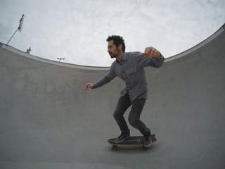 Skater in pool of skatepark