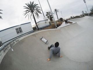 Skater fell down in pool