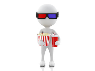 3d white man with 3d glasses, drink and popcorn.