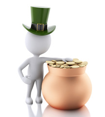 3d white people with pot with gold coins. St patricks day concep